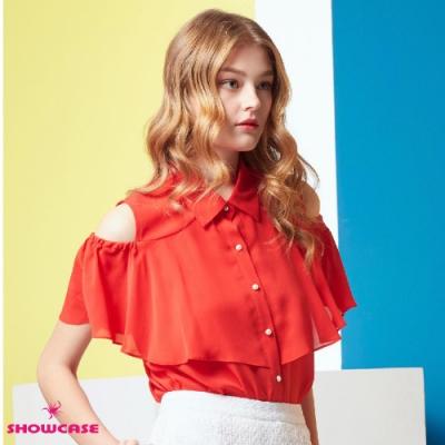 【SHOWCASE】挖肩荷葉袖珍珠釦雪紡襯衫(紅)