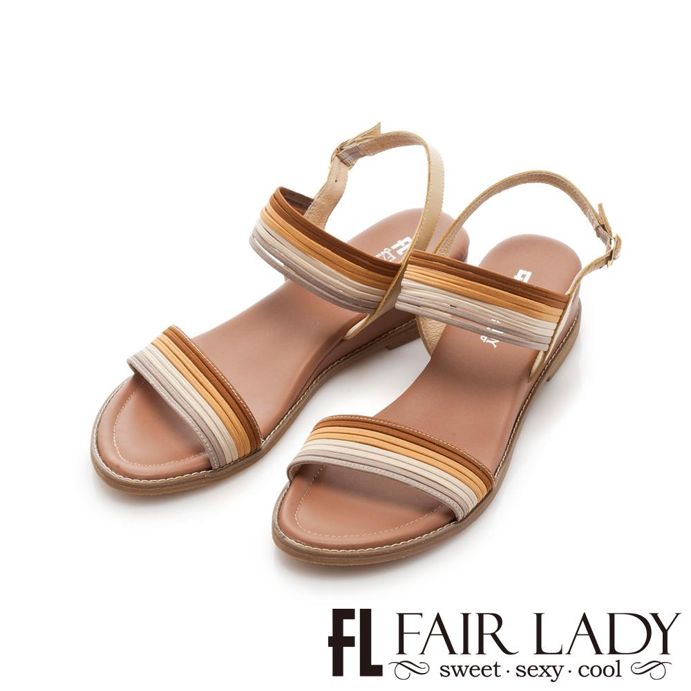 Fair Lady 撞色細條鬆緊帶楔型涼鞋 駝