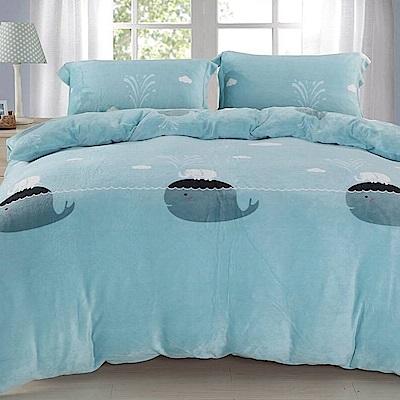 La Lune 冬季首選軒 s百分百法蘭絨雙人床包毯被四件組 可愛小鯨魚