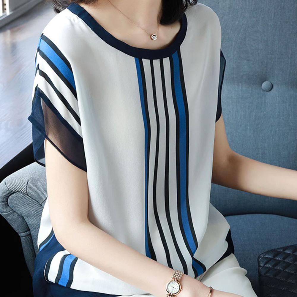 初色  條紋印花雪紡上衣-白色-(M-2XL可選)
