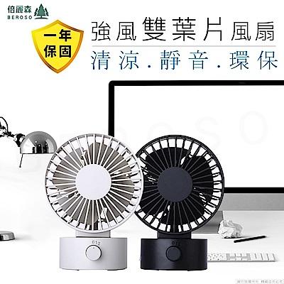 Beroso倍麗森 日式簡約USB強風雙葉片電風扇 兩色可選