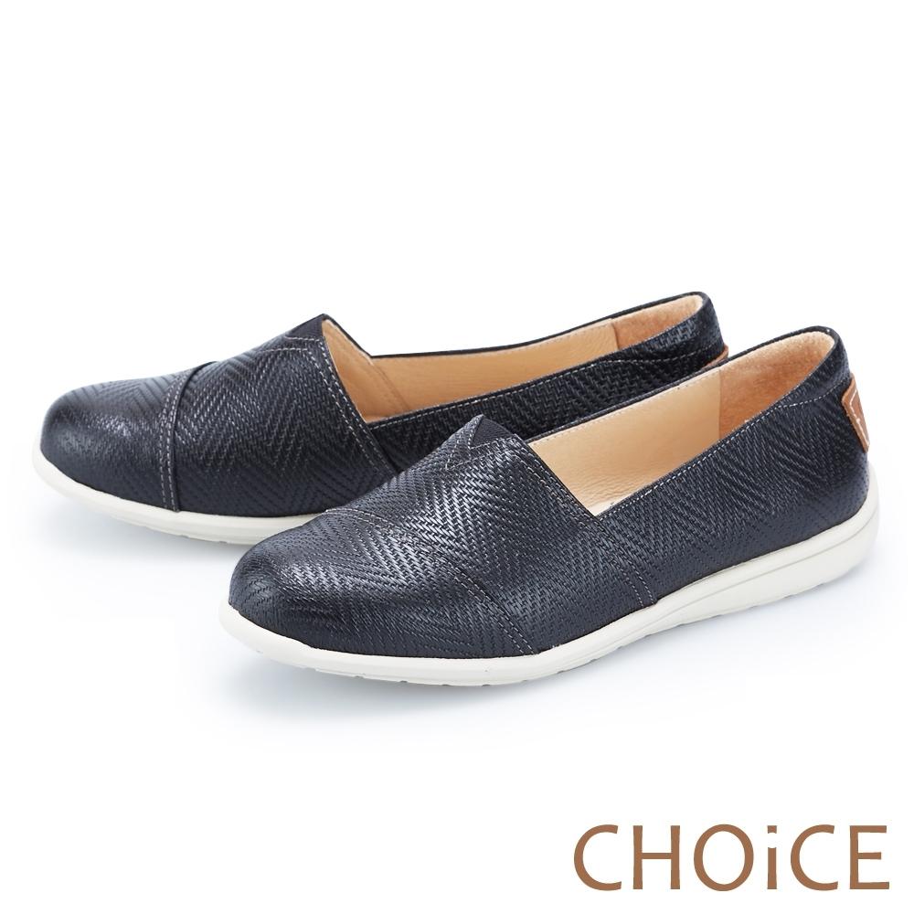 CHOiCE 編織壓紋真皮平底 女 休閒鞋 黑色