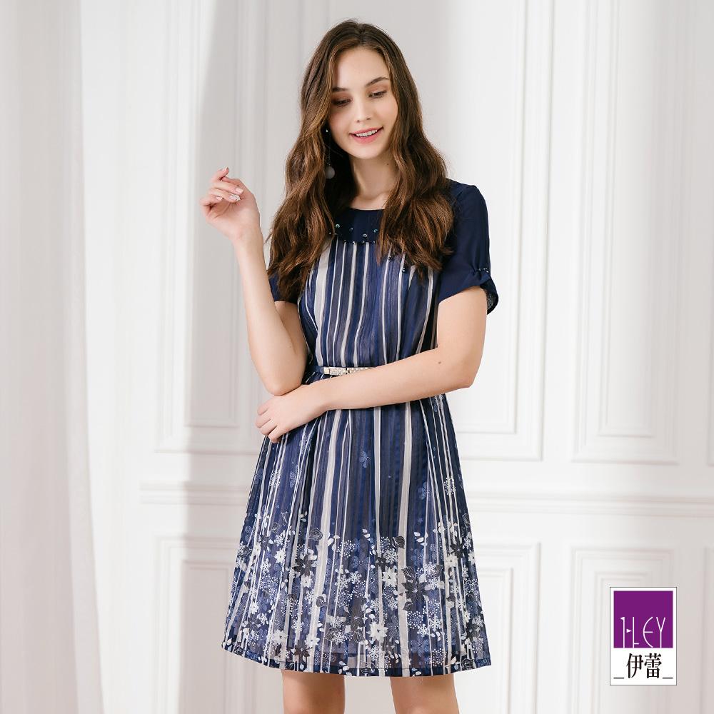 ILEY伊蕾 織蔥條紋小碎花洋裝(藍)