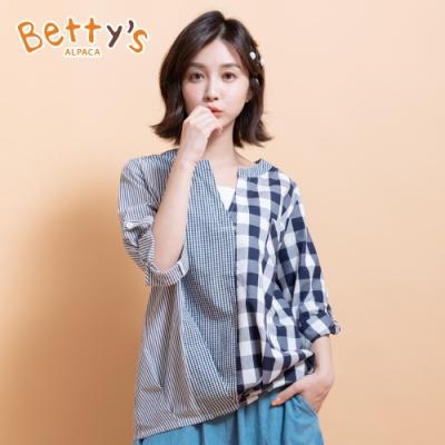 betty's貝蒂思 V領拼接格紋上衣(藍白格)