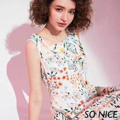 SO NICE亮麗花漾小方領洋裝