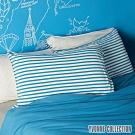 YVONNE COLLECTION 橫條紋枕套-水藍/淺灰白