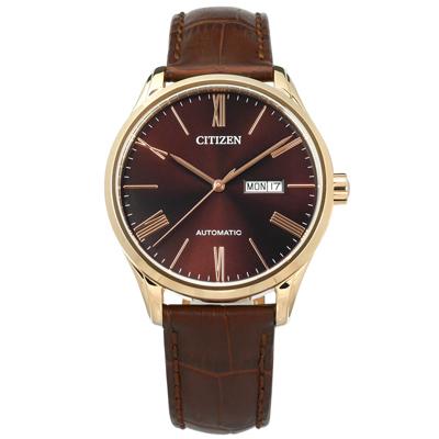 CITIZEN 機械錶自動上鍊牛皮手錶-葡萄紅x香檳金框x咖啡/41mm