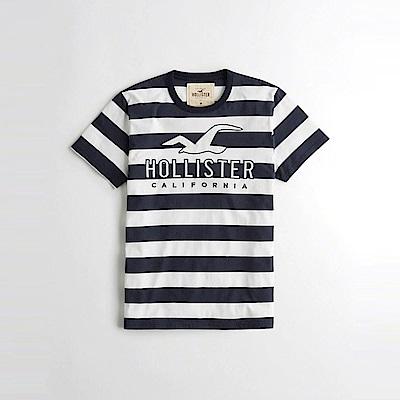 HCO Hollister 海鷗 經典電繡文字大海鷗圖案短袖T恤-深藍白條紋色