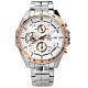 EDIFICE CASIO 卡西歐多層次不鏽鋼手錶-銀白x玫瑰金框/45mm product thumbnail 1