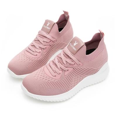 PLAYBOY 針織襪套式增高休閒鞋-粉-Y573299
