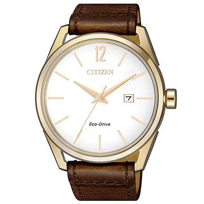 CITIZEN 星辰光動能典藏時尚真皮手錶(BM7418-17A)-米X咖啡/42mm