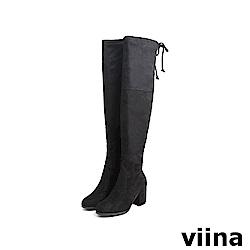 viina Basic 彈力高跟過膝靴 - 黑