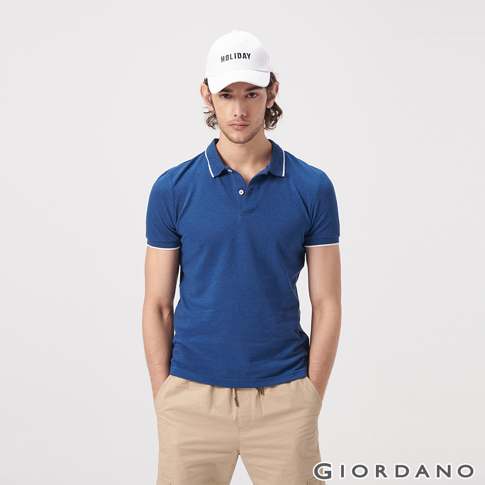 GIORDANO 男裝經典素色短袖POLO衫-43 雪花鯨魚藍