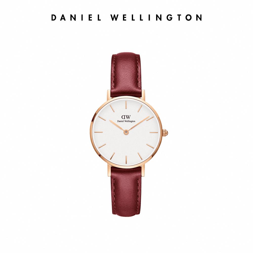 DW 手錶 官方旗艦店 28mm玫瑰金框 Suffolk 經典紅真皮壓紋皮革錶