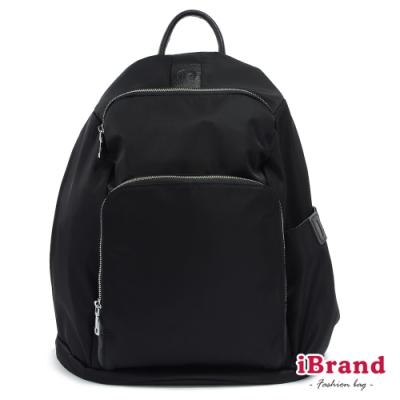 iBrand 率性時尚後開式防盜尼龍後背包(L)-百搭黑