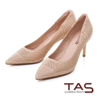 TAS簡約沖孔羊皮尖頭高跟鞋-淡雅膚