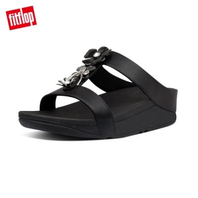 FitFlop FINO METALLIC-FLOWER H-BAR SLIDES金屬花飾涼鞋-女(黑色)