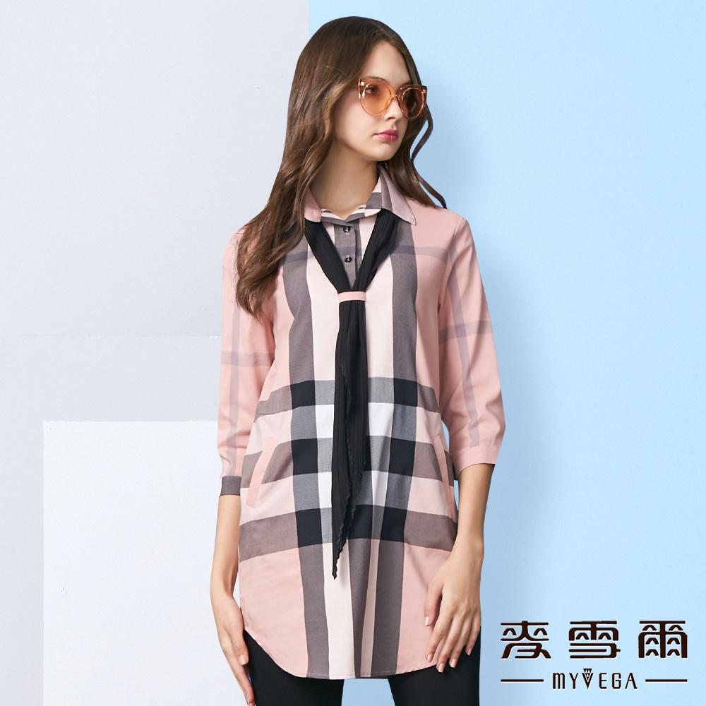 【麥雪爾】英倫知性格紋領巾棉質襯衫