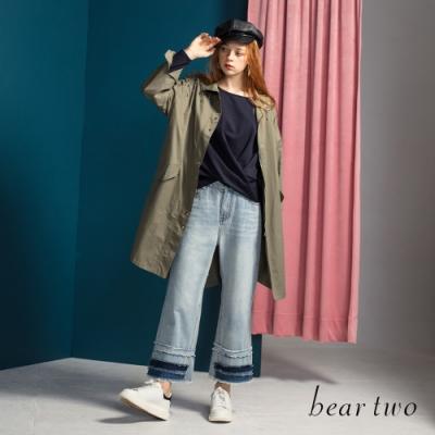 bear two-金屬環裝飾落肩風衣外套-綠