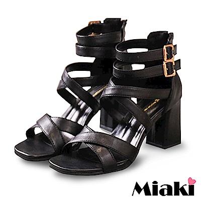 Miaki-高跟鞋韓國首選細帶羅馬涼鞋-黑
