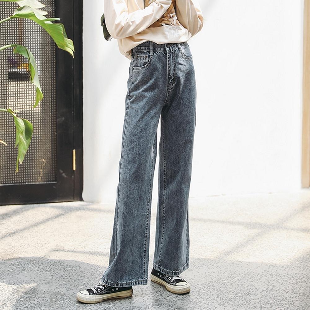 高腰純色修身牛仔闊腿褲S-XL-WHATDAY