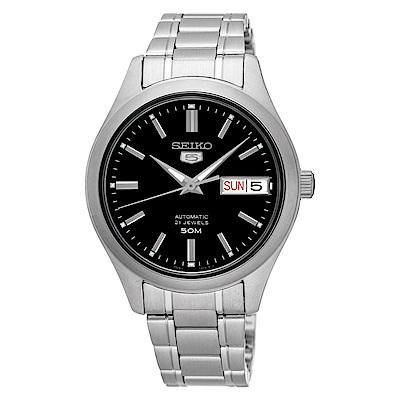 SEIKO精工  時尚熟女夜光5號自動上鍊機械腕錶(SNK883K1)-黑/34mm
