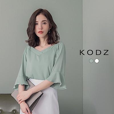 東京著衣-KODZ 優質特調荷葉袖波浪滾邊一字領兩穿上衣-S.M.L(共兩色)