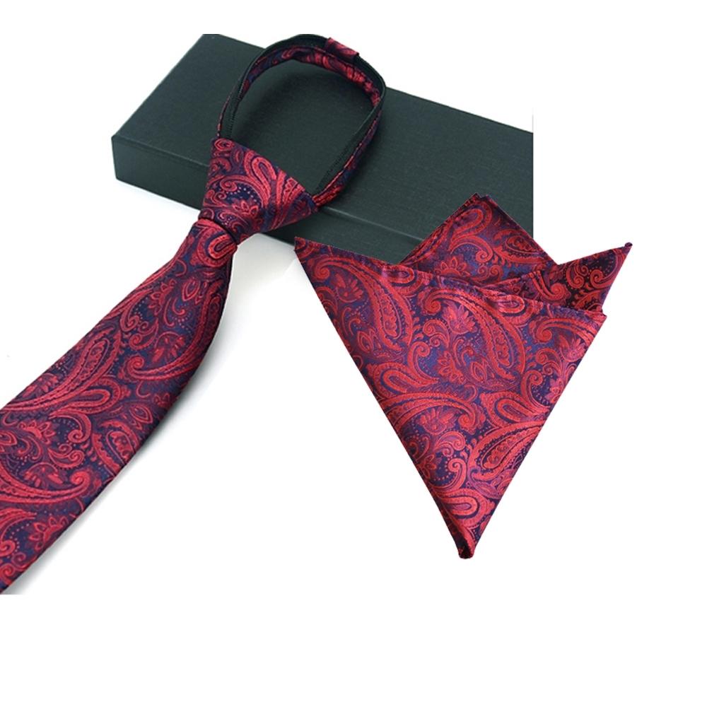 Laifuu拉福,英翔精品6cm中窄版領帶拉鍊領帶口袋組(拉鍊領帶+口袋巾)