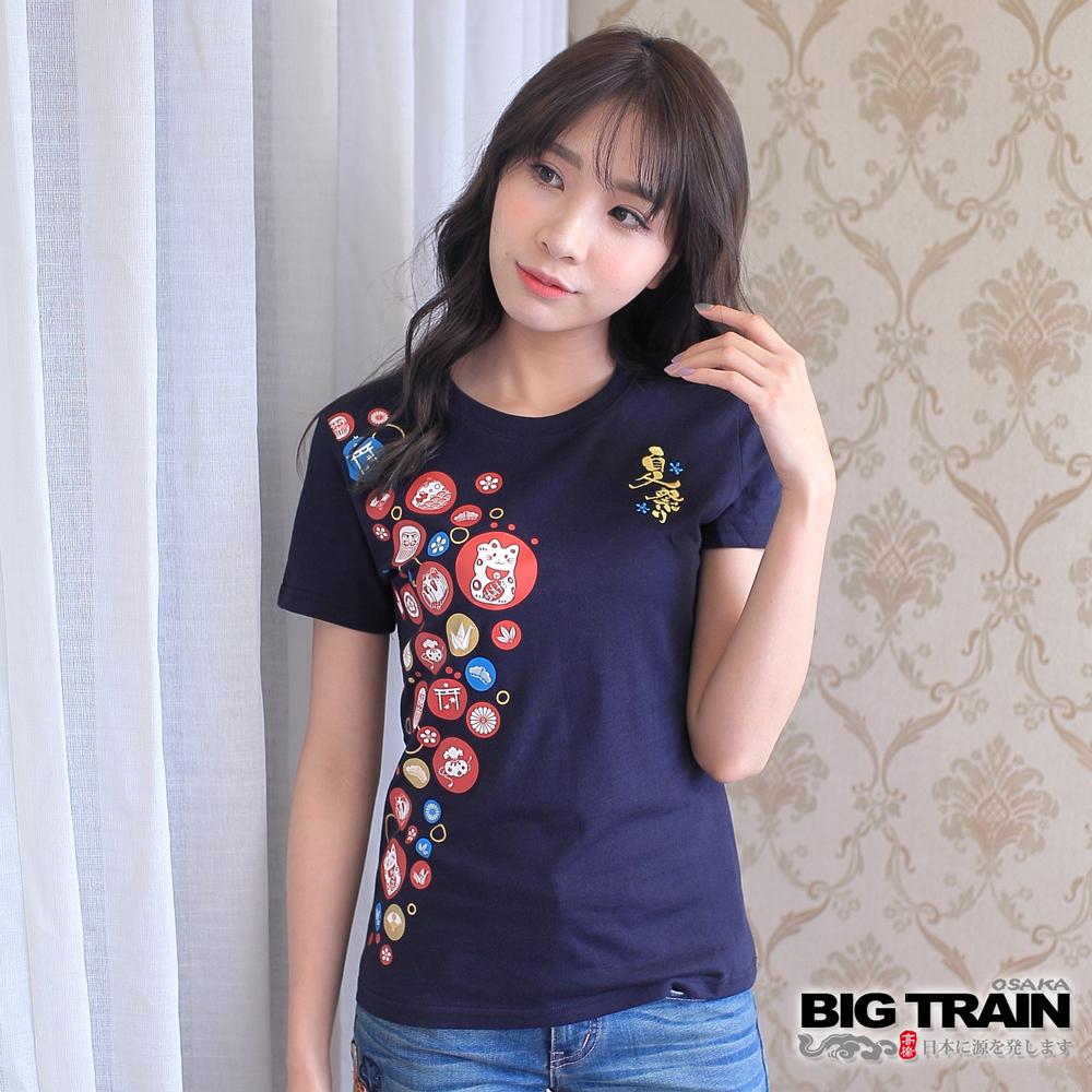 BIG TRAIN 富饒圓標夏祭女款-女-丈青