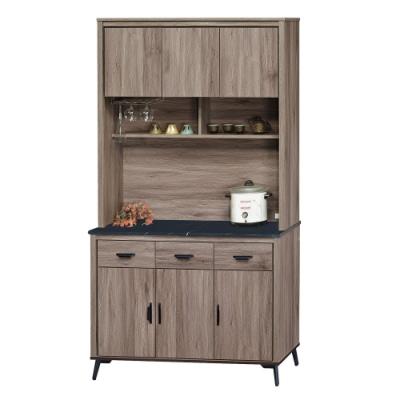 綠活居 菲迪4尺黑紋石面餐櫃/收納櫃組合(上+下座)-121x41x203.5cm免組
