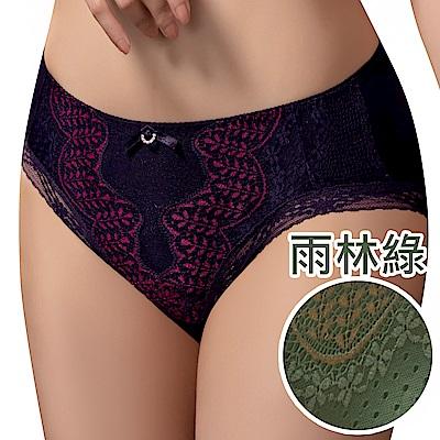 思薇爾 波光曼舞系列M-XXL蕾絲中腰三角內褲(雨林綠)