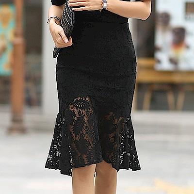 正韓 高腰透膚蕾絲紗魚尾及膝裙 (黑色)-N.C21