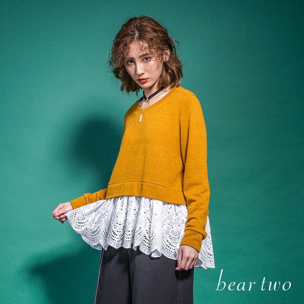 beartwo 假兩件式拼接緹花布造型上衣(二色)