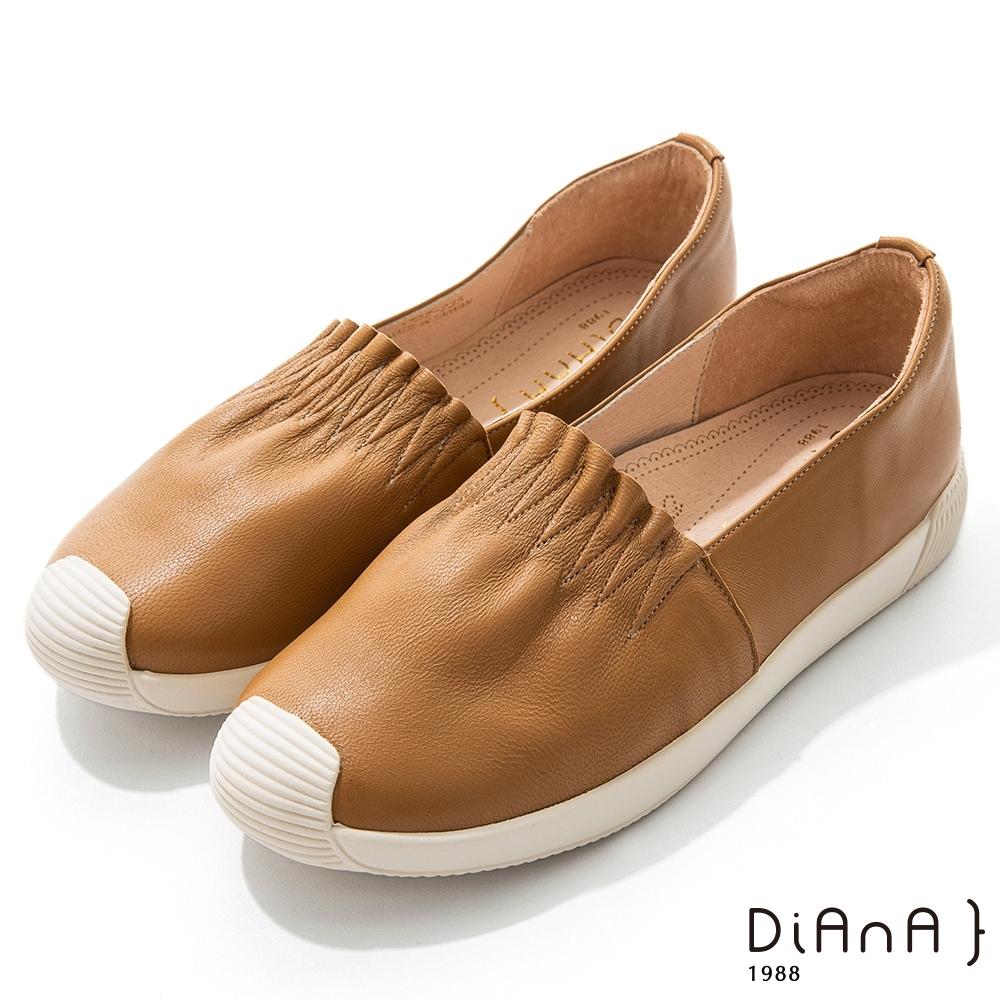 DIANA 2.5cm羊皮抓皺鞋口厚底休閒鞋-漫步雲端焦糖美人-棕