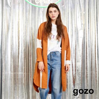 gozo 條紋拼接長版襯衫洋裝(深咖)