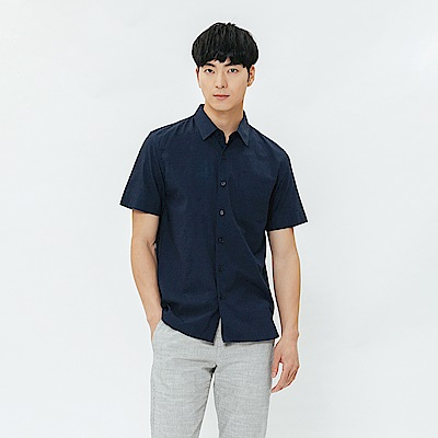 H:CONNECT 韓國品牌 男裝-單口袋短袖襯衫-藍