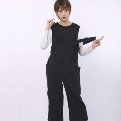 設計所在Style-工裝背帶褲港味高腰寬鬆顯瘦休閒褲子