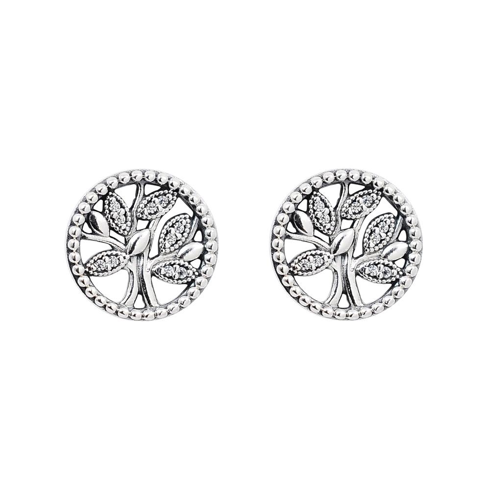 Pandora 潘朵拉 閃耀鑲鋯生命樹 純銀耳環