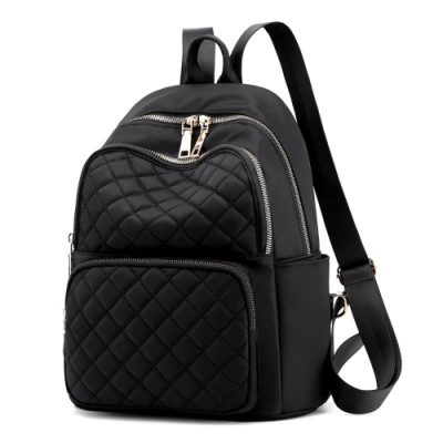 I.Dear-韓版時尚立體菱格紋雙肩拉鍊肩背後背包BG124(黑色)