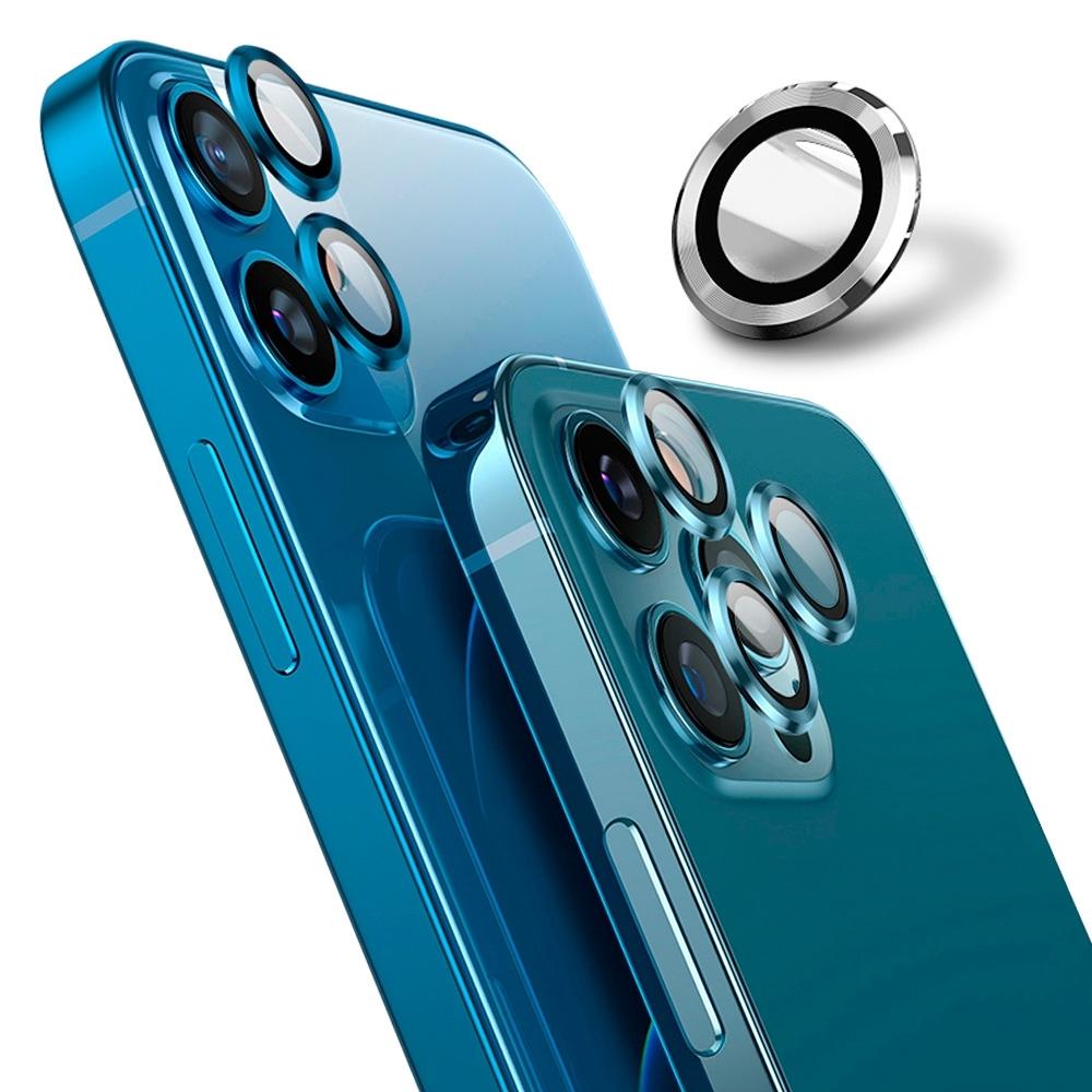 【Ayss】藍寶石鏡頭保護貼 iPhone 12 Pro Max/莫氏硬度9/金屬邊框/鏡頭全包覆式/AR光學玻璃/疏水疏油-3入-銀