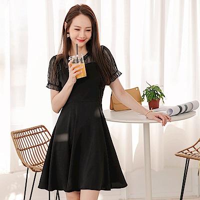 韓系拋袖蕾絲假兩件傘襬洋裝-OB嚴選