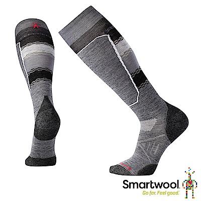 SmartWool PhD滑雪輕量菁英避震印花高筒襪 中性灰