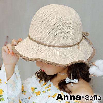 AnnaSofia 滾邊線織綁結垂小墜 軟式遮陽防曬漁夫帽盆帽(黃杏系)
