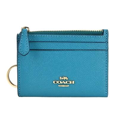 COACH 立體馬車LOGO素面防刮皮革卡夾鑰匙零錢包(土耳其藍)