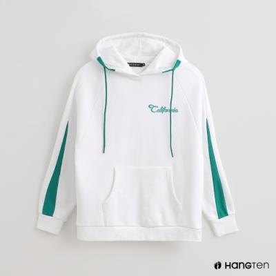 Hang Ten -女裝 - 配色抽繩連帽長袖上衣 - 白