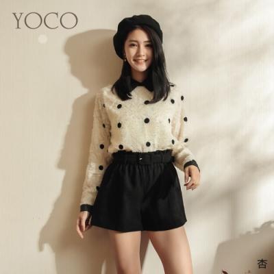 東京著衣-YOCO 法式浪漫點點磨毛透膚上衣
