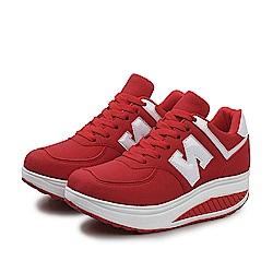 韓國KW美鞋館 冬氛必備皮面布加厚底健走鞋-紅色