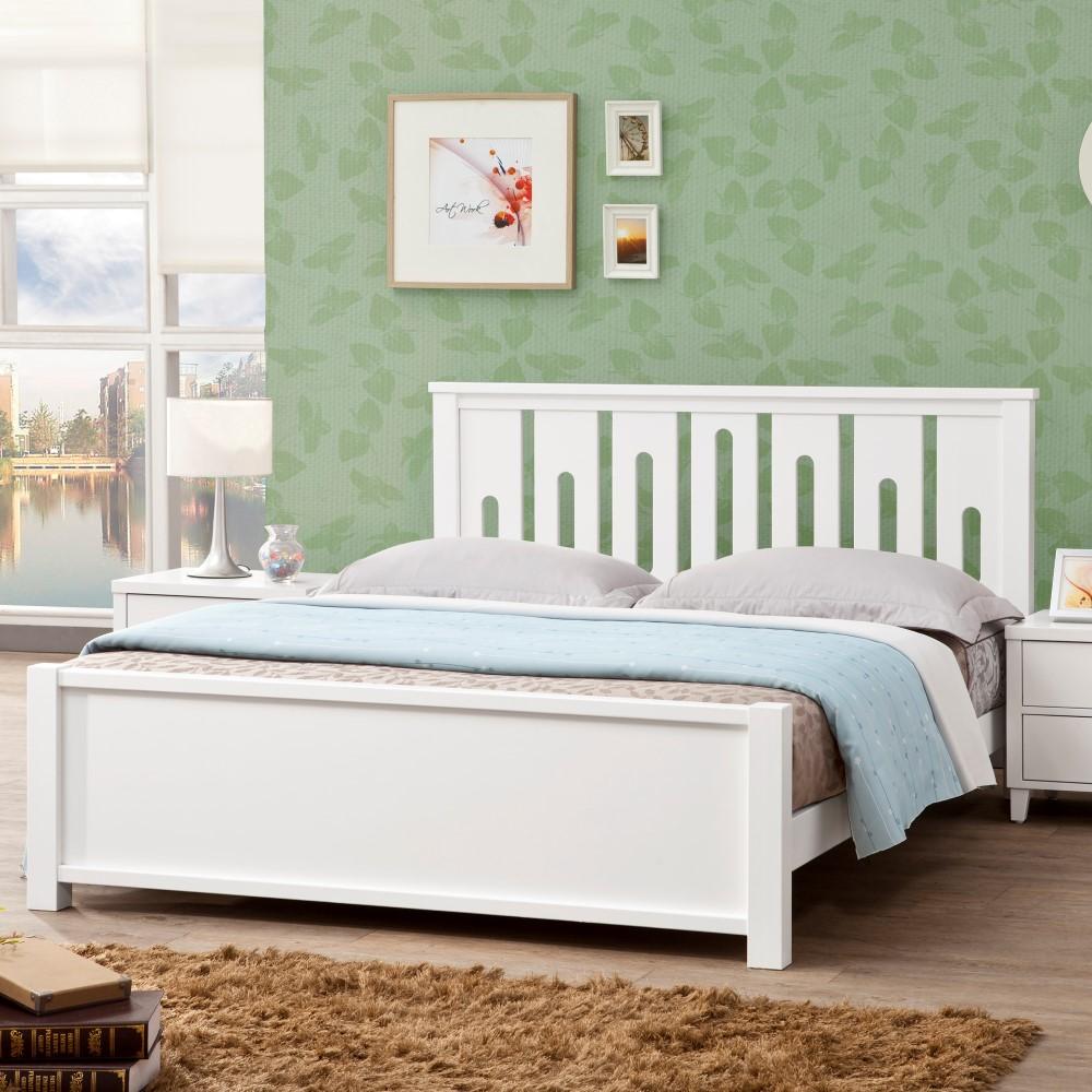 D&T德泰傢俱 MARIE白色北歐實木6尺單人床-188x199x100cm