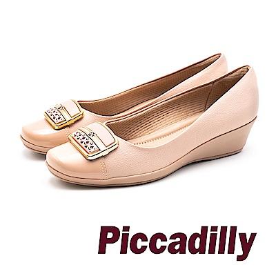 Piccadilly 質感金屬框 軟墊中跟淑女鞋- 淺玫瑰粉 (另有黑)