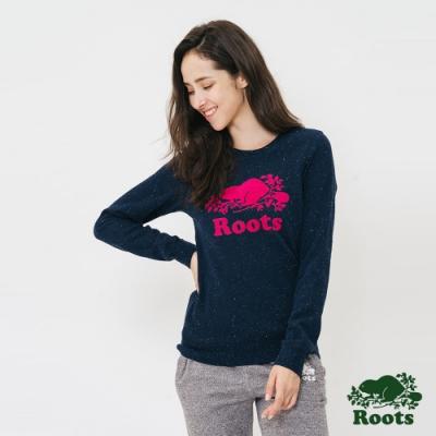 女裝Roots- 結粒紗刷毛圓領上衣-藍